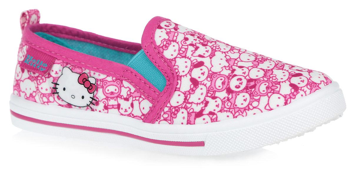 Кеды для девочки Kakadu Hello Kitty, цвет: розовый, белый. 6075A. Размер 316075AЯркие кеды Hello Kitty от Kakadu придутся по душе вашей девочке! Модель выполнена из текстиля, экологически безопасного материала, и оформлена изображением героев мультфильма Hello Kitty, сбоку - аппликацией. Резинки, расположенные по бокам, гарантируют оптимальную посадку модели на ноге. Подкладка выполнена из гипоаллергенного натурального хлопка, который хорошо впитывает влагу и позволяет коже дышать. Амортизирующая стелька из хлопка с антибактериальным покрытием препятствует появлению бактерий, нейтрализует запах, прекрасно впитывает лишнюю влагу и обладает высокой воздухопроницаемостью. Рифление на подошве обеспечивает отличное сцепление с любыми поверхностями. Удобные кеды - незаменимая вещь в гардеробе каждой девочки.