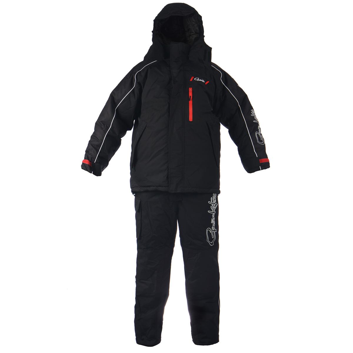 Комплект мужской Gamakatsu: куртка, полукомбинезон, цвет: черный. 0041118. Размер XL (52/54)0041117Теплый мужской комплект Gamakatsu, состоящий из куртки с подстежкой Ultralight и полукомбинезона,предназначен для сурового климата с экстремально низкими температурами (от -5°С до -50°С). Верхний материал выполнен из 100% нейлона, подкладка и утеплитель из 100%полиэстера. Куртка с капюшоном застегивается на пластиковую застежку-молнию с двойнымбегунком и дополнительно имеет две внешних планки, застегивающихся на липучки.Предусмотрен капюшон, пристегивающийся с помощью застежек-кнопок и дополненныйэластичным шнурком на стопперах. Капюшон фиксируется под подбородком клапаном налипучки. Для большего комфорта основная подкладка выполнена из мягкого и теплогофлиса. Рукава дополнены внутренними эластичными манжетами с хлястиками на липучках,а также внешними хлястиками на липучках, с помощью которых можно регулироватьобхват рукавов понизу. На груди предусмотрен вместительный прорезной карман назастежке-молнии, также спереди имеются еще два прорезных кармана на молниях. Сизнаночной стороны куртки расположен накладной карман на застежке-молнии. Понизупроходит скрытая эластичная резинка со стопперами. В комплект входит подстежка Ultralight,выполненная в виде утепленной куртки из нейлона, на подкладке из полиэстера. В качествеутеплителя также используется полиэстер. Подстежку можно носит в прохладную погоду,как куртку. Подстежка пристегивается к изнаночной стороне куртки с помощьюпластиковых застежек-молний. Теплый полукомбинезон с грудкой застегивается на пластиковую застежку-молнию,закрытую сверху ветрозащитной планкой на липучках и застежке-кнопке. Также имеютсянаплечные лямки, регулируемые по длине. На талии по спинке предусмотрена вшитаяэластичная резинка, которая позволяет надежно заправить свитер. Спередипредусмотрены три прорезных кармана на застежках-молниях. Также сбоку имеетсявместительный накладной карман на длинной липучке. Низ брючин можно регулироватьпо ширине с по