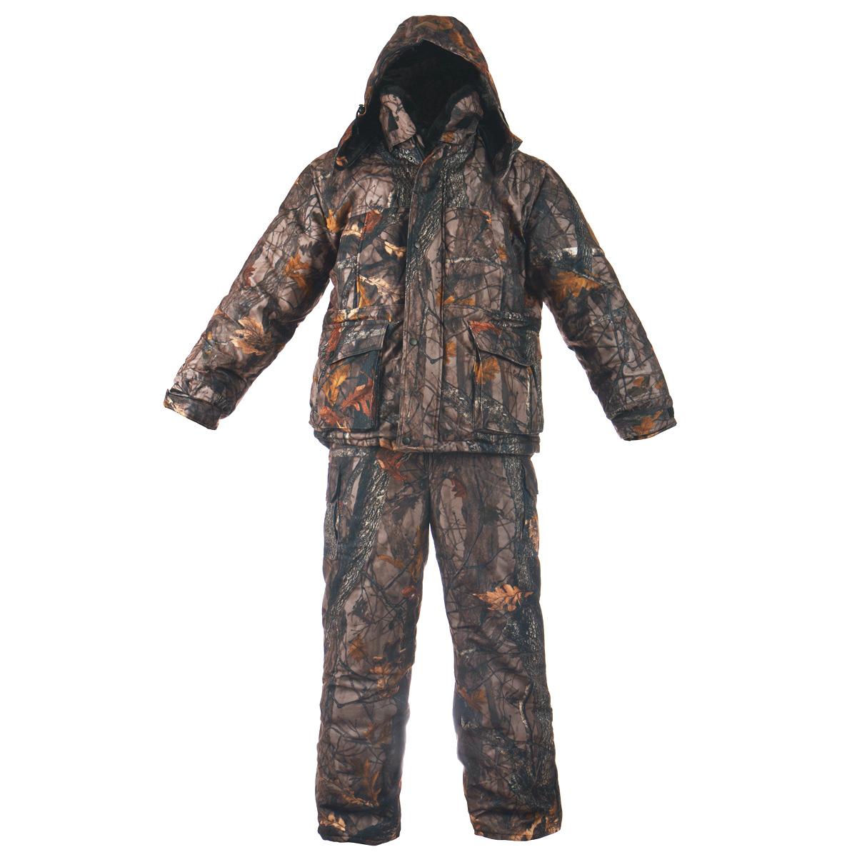 Комплект верхней одеждыБуран-М_смесоваяТеплый зимний мужской комплект Huntsman Буран-М, состоящий из куртки и полукомбинезона, предназначен для рыбалки, охоты и активного отдыха на природе. Верхний материал не продувается ветром, не промокает под сильным дождем, не теряет своих свойств при низких температурах (до -30°С) и не шуршит. Верхний материал: смесовая ткань (65% полиэстер, 35% хлопок), Oxford, Alova. Подкладка - Taffeta 190T, Polar Fleece, искусственный мутон. Ткань Alova с мембранным покрытием препятствует проникновению ветра, отталкивает жидкость от поверхности, замедляет потери тепла, пропускает испарения тела. В качестве утеплителя используется Radotex (Радотекс) (куртка - 450 г/м2, полукомбинезон - 300 г/м2), состоящий из полого высокоизвитого силикононизированного волокна. Уникальная структура утеплителя обеспечивает высокие потребительские качества: Низкий коэффициент теплоотдачи; Прекрасно поддерживает микроклимат человека, хорошо пропускает воздух; ...