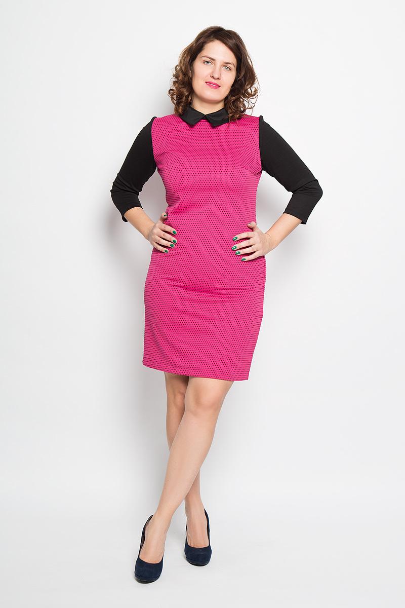 Платье Milana Style, цвет: фуксия, черный. 1761. Размер 501761Платье Milana Style поможет создать стильный женственный образ. Благодаря составу, в который входит ПАН и эластан, платье мягкое и приятное на ощупь, не сковывает движений, обеспечивая комфорт.Модель с отложным воротником и рукавами 3/4 застегивается сзади на пуговицу.Такое платье станет модным дополнением к вашему гардеробу, а также подчеркнет ваш уникальный стиль!