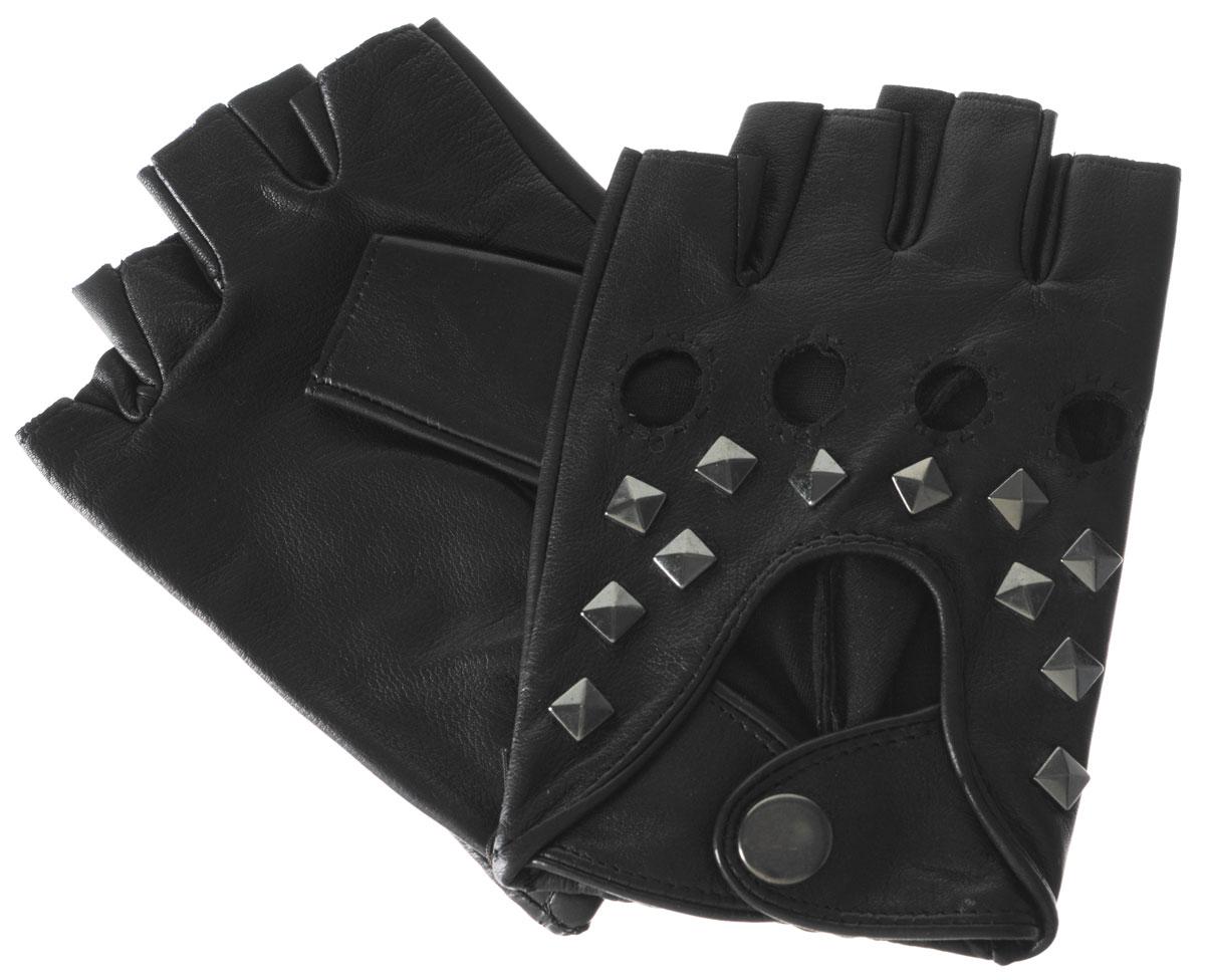 МитенкиIS204Митенки Eleganzza изготовлены из натуральной кожи ягненка. Подкладка из натурального шелка. Декорирована модель металлическими клепками и двумя ремешками на кнопке. На ладонной стороне изделия манжеты присборены на резинку. В отличие от обычных кожаных перчаток, в них рука не теряет гибкости и подвижности, пальцы столь же чувствительны и точны, руку можно сжать в кулак беспрепятственно.