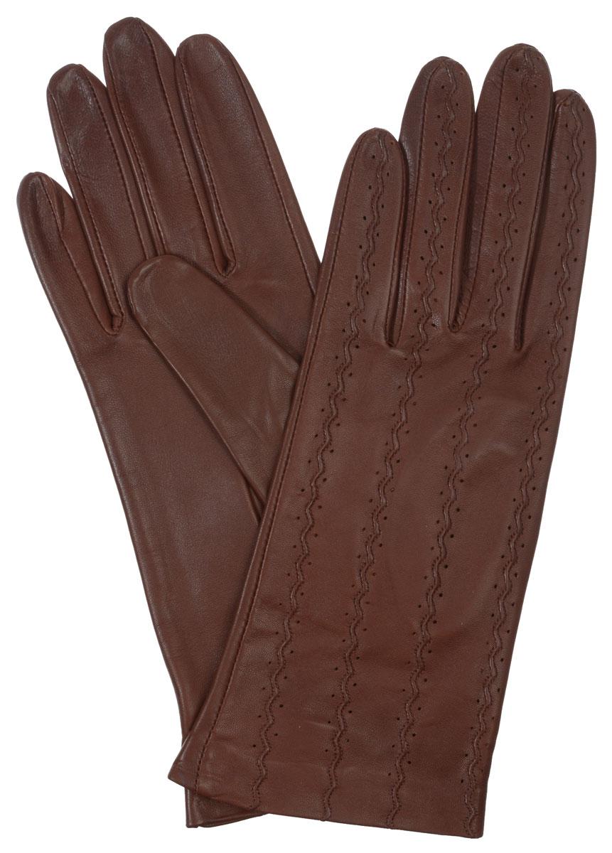 Перчатки женские Eleganzza, цвет: коричневый. HP00018. Размер 7HP00018Стильные женские перчатки Eleganzza не только защитят ваши руки от холода, но и станут великолепным украшением. Они выполнены из мягкой и приятной на ощупь кожи ягненка. Модель декорирована перфорацией и отстрочкой на лицевой стороне. Такие перчатки станут идеальным аксессуаром, дополняющим ваш стиль и неповторимость.