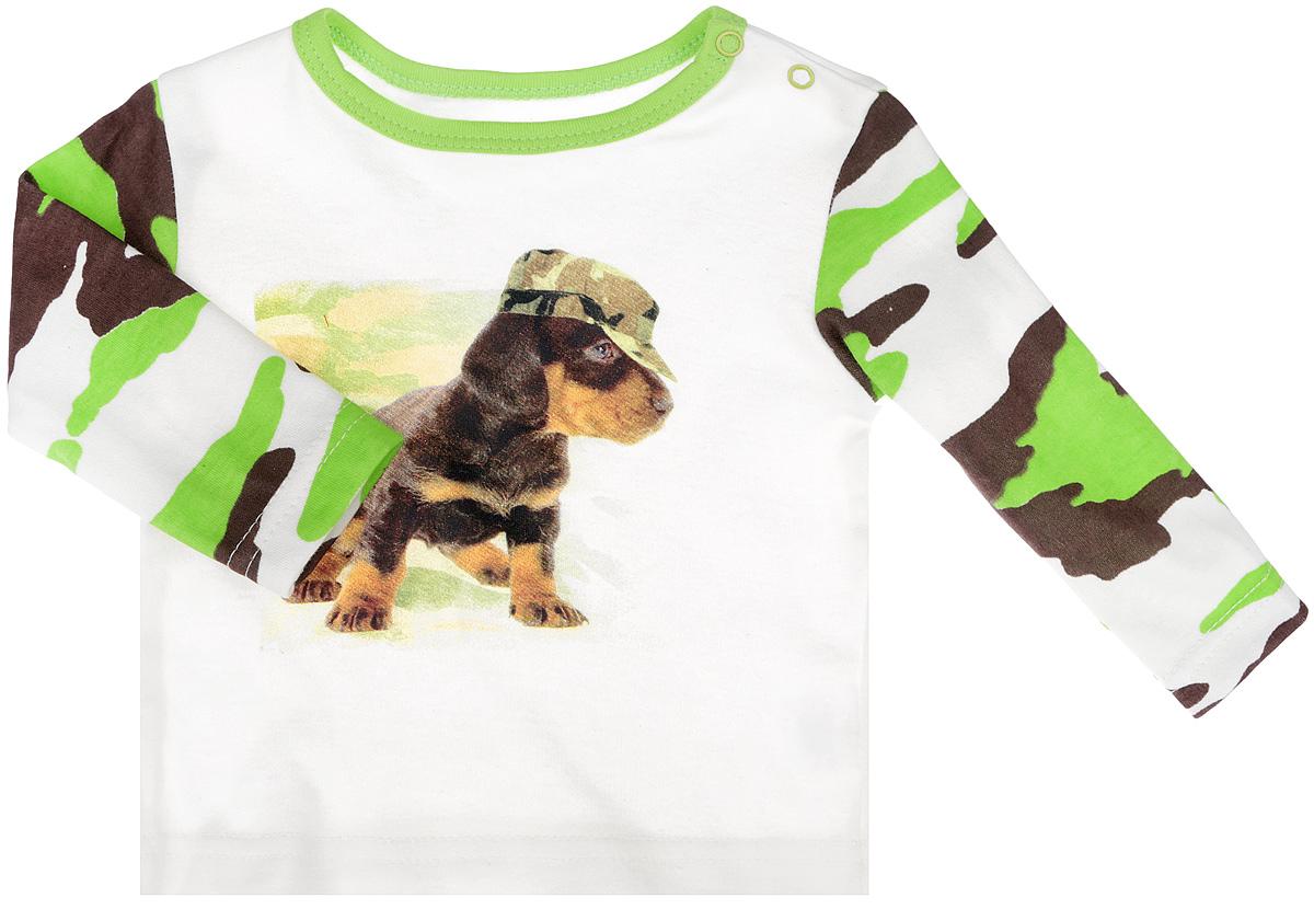 Лонгслив7964Великолепная футболка для мальчика КотМарКот идеально подойдет вашему маленькому мужчине. Изготовленная из натурального хлопка, она необычайно мягкая и приятная на ощупь, не сковывает движения малыша и позволяет коже дышать, не раздражает даже самую нежную и чувствительную кожу ребенка, обеспечивая ему наибольший комфорт. Футболка с длинными рукавами и круглым вырезом горловины имеет застежки-кнопки по плечу, которые позволяют без труда переодеть ребенка. Рукава модели выполнены в стиле милитари. Вырез горловины окантован контрастной бейкой. Модель оформлена изображением очаровательного щенка в кепке. Оригинальный современный дизайн и модная расцветка делают эту футболку модным и стильным предметом детского гардероба. В ней ваш малыш будет чувствовать себя уютно и комфортно, и всегда будет в центре внимания!