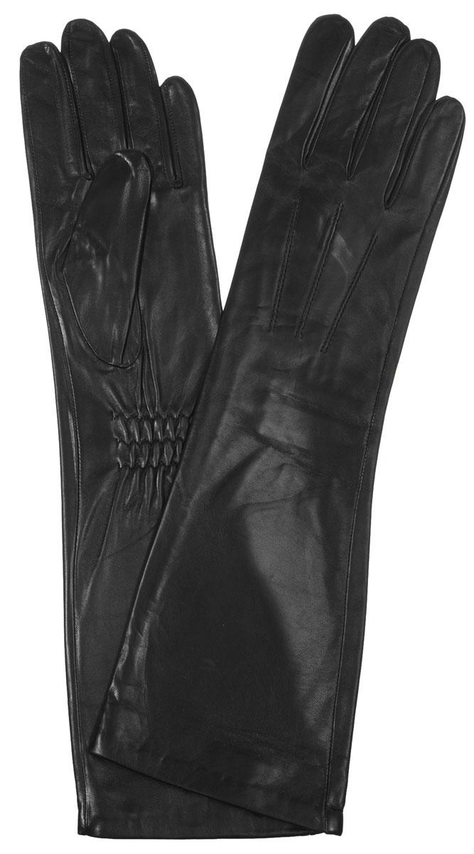 Перчатки женские Eleganzza, цвет: черный. IS598. Размер 7IS598Элегантные удлиненные женские перчатки Eleganzza станут великолепным дополнением вашего образа и защитят ваши руки от холода и ветра во время прогулок.Перчатки выполнены из натуральной кожи ягненка. На внешней стороне - шов 3 луча. Тыльная сторона дополнена резинкой для оптимальной посадки модели на руке. Такие перчатки будут оригинальным завершающим штрихом в создании современного модного образа, они подчеркнут ваш изысканный вкус и станут незаменимым и практичным аксессуаром.