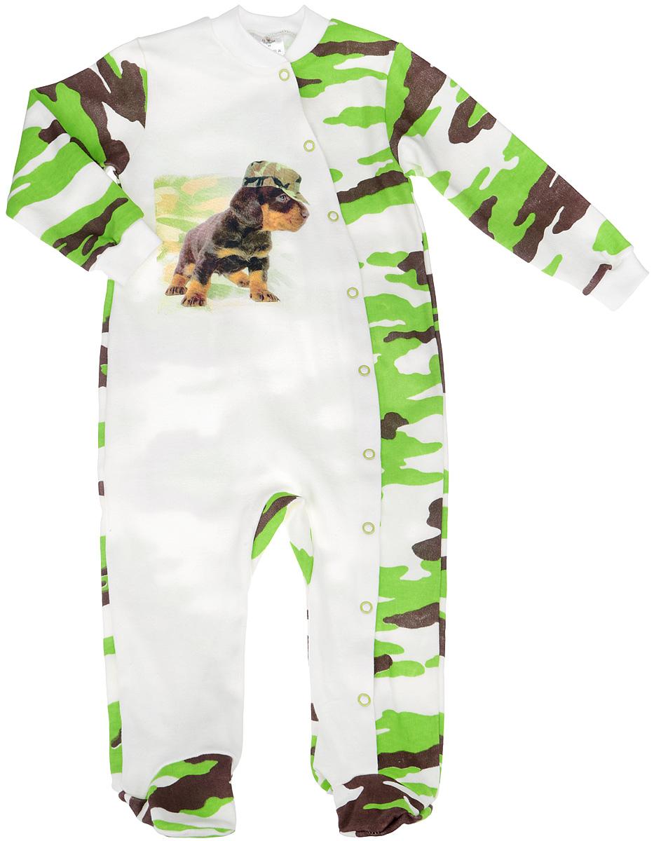 Комбинезон домашний6264Комбинезон для мальчика КотМарКот - удобный и практичный вид одежды для малыша, который идеально подходит для сна и отдыха. Комбинезон выполнен из натурального хлопка, благодаря чему он очень мягкий и приятный на ощупь, не раздражает нежную кожу ребенка и хорошо вентилируется. Комбинезон с длинными рукавами и закрытыми ножками имеет застежки-кнопки от горловины до щиколотки, проходя по одной ножке, которые помогают легко переодеть младенца или сменить подгузник. Вырез горловины дополнен мягкой трикотажной резинкой. Изделие оформлено принтом с изображением очаровательного щенка в кепке, а основная часть комбинезона оформлена узором милитари. Комфортный и уютный комбинезон станет незаменимым дополнением к гардеробу вашего ребенка. Изделие полностью соответствует особенностям жизни младенца в ранний период, не стесняя и не ограничивая его в движениях.