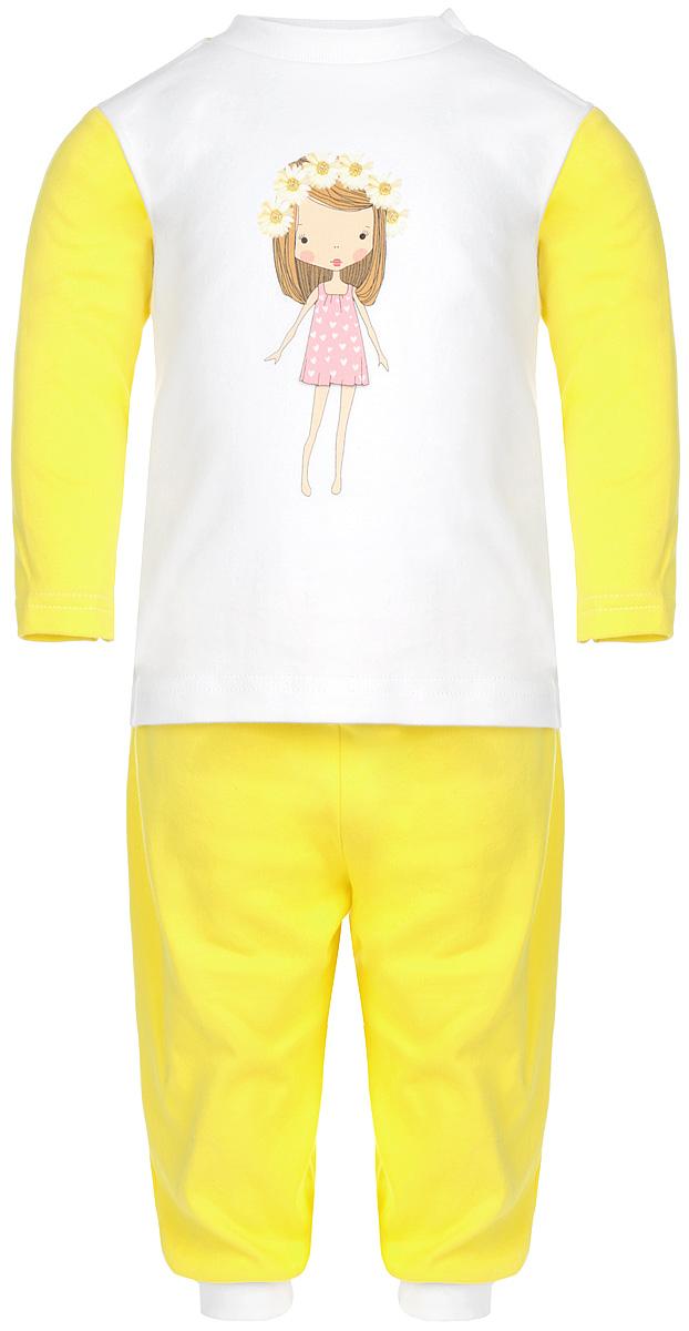 Пижама для девочки КотМарКот, цвет: лимонный, белый. 16162. Размер 110, 5 лет16162Удобная пижама для девочки КотМарКот, состоящая из футболки с длинным рукавом и брюк, идеально подойдет вашему ребенку. Пижама выполнена из натурального хлопка, она необычайно мягкая и приятная на ощупь, не сковывает движения и позволяет коже дышать, не раздражает даже самую нежную и чувствительную кожу ребенка, обеспечивая ему наибольший комфорт. Футболка с длинными рукавами и круглым вырезом горловины оформлена изображением очаровательной девочки с цветочным венком на голове и украшена блеском. Футболка на плече застегивается на металлические кнопки, что позволяет с легкостью переодеть ребёнка. Вырез горловины дополнен эластичной резинкой. Брюки прямого кроя на поясе имеют широкую эластичную резинку, благодаря чему они не сдавливают животик ребенка и не сползают. Низ брючин дополнен широкими эластичными манжетами.Пижама станет отличным дополнением к гардеробу маленькой принцессы, в ней ваш ребенок будет чувствовать себя комфортно и уютно во время сна.