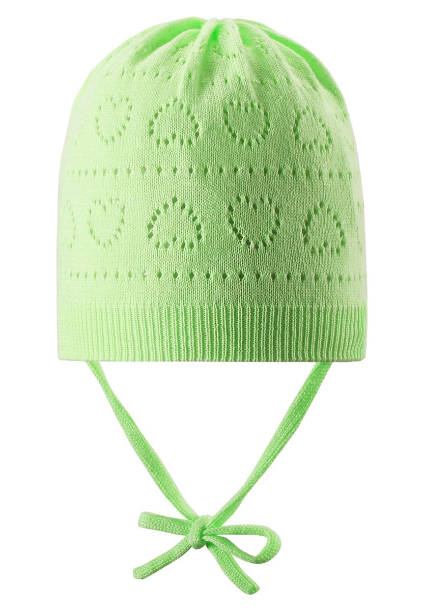 Шапка-бини для девочки Reima Mellow, цвет: салатовый. 518345-8380. Размер 46518345_8380Классическая шапка для девочки Reima Mellow идеально подойдет для прогулок маленькой принцессе. Изделие изготовлено из натуральной хлопковой пряжи, необычайно мягкое и приятное на ощупь, позволяет коже дышать. Благодаря эластичной вязке, шапка идеально прилегает к голове ребенка. Шапочка дополнена завязками, фиксирующимися под подбородком. Край изделия связан широкой резинкой. Модель оформлена вязаным ажурным узором с изображением сердечек. Сзади предусмотрена небольшая нашивка с логотипом бренда. Современный дизайн и расцветка делают эту шапку модным и стильным предметом детского гардероба. В ней ребенку будет уютно и комфортно. Уважаемые клиенты!Размер, доступный для заказа, является обхватом головы.