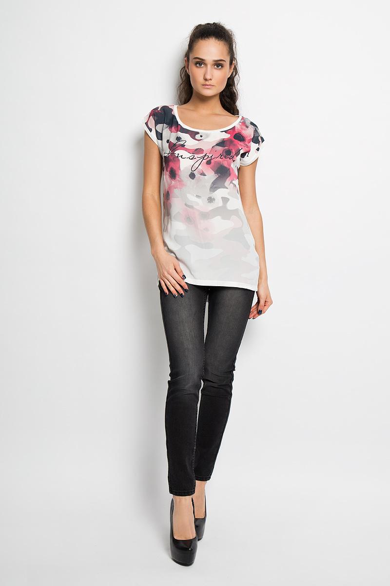 Футболка женская Top Secret, цвет: белый, серый, розовый. SPO2678BI. Размер 38 (44)SPO2678BIСтильная женская футболка Top Secret, выполненная из 100% вискозы, подчеркнет ваш изысканный вкус.Модель свободного кроя c рукавами-кимоно и круглым вырезом горловины - идеальный вариант для создания образа в стиле Casual. Футболка оформлена оригинальным цветочным принтом и надписью Fuspired. Спинка немного удлинена. Такая модель подарит вам комфорт в течение всего дня и послужит замечательным дополнением к вашему гардеробу.