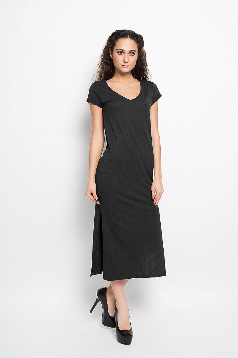 Платье10156206_378Модное платье Broadway поможет создать стильный образ. Платье выполнено из хлопка и вискозы, очень мягкое, приятное к телу, не сковывает движения и хорошо пропускает воздух. Модель с V-образным вырезом горловины и короткими рукавами дополнена по бокам двумя эффектными разрезами. На рукавах предусмотрены декоративные отвороты. Лаконичный дизайн и совершенство стиля подчеркнут вашу индивидуальность.