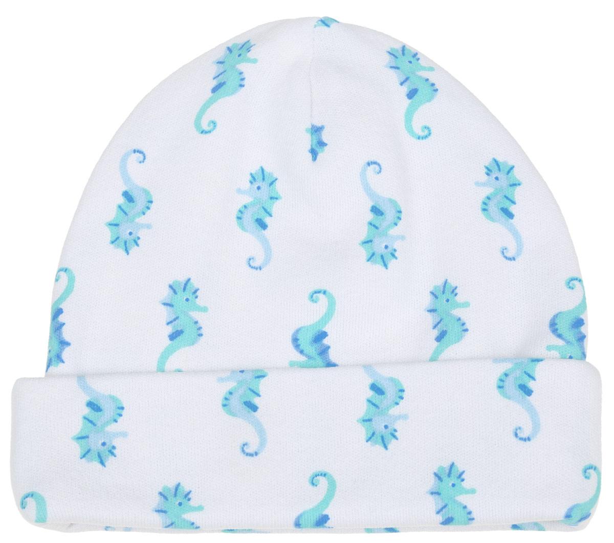 Шапочка6311_ВЛ15_конькиКомфортная шапочка для мальчика Трон-плюс идеально подойдет вашему малышу. Изделие изготовлено из двойного трикотажного полотна, мягкое и приятное на ощупь, позволяет коже дышать. Модель с отворотом оформлена принтом с изображением морских коньков по всей поверхности. Шапочка необходима любому младенцу, она защищает еще не заросший родничок, щадит чувствительный слух малыша, прикрывая ушки, а также предохраняет от теплопотерь. В такой шапочке ваш ребенок будет чувствовать себя уютно и комфортно! Уважаемые клиенты! Размер, доступный для заказа, является обхватом головы.