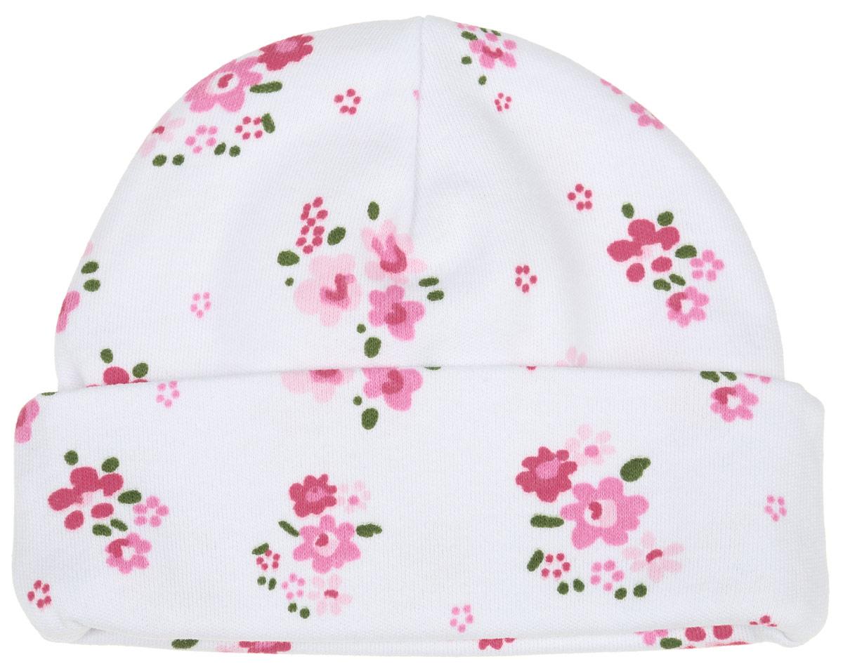 Шапочка6311_ОЗ14_цветыКомфортная шапочка для девочки Трон-плюс идеально подойдет вашей малышке. Изделие изготовлено из двойного трикотажного полотна, мягкое и приятное на ощупь, позволяет коже дышать. Модель с отворотом оформлена цветочным принтом по всей поверхности. Шапочка необходима любому младенцу, она защищает еще не заросший родничок, щадит чувствительный слух малыша, прикрывая ушки, а также предохраняет от теплопотерь. В такой шапочке ваш ребенок будет чувствовать себя уютно и комфортно! Уважаемые клиенты! Размер, доступный для заказа, является обхватом головы.