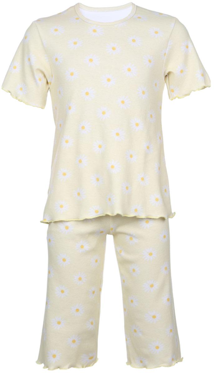 Пижама5581_ВЛ15_ромашкиОчаровательная пижама для девочки Трон-плюс, состоящая из футболки и удлиненных шорт, идеально подойдет ребенку для отдыха и сна. Модель выполнена из натурального хлопка, мягкая и приятная к телу, не сковывает движения, хорошо пропускает воздух и не раздражает нежную и чувствительную кожу ребенка. Футболка с короткими рукавами имеет круглый вырез горловины, оформленный бейкой. Удлиненные шорты на талии дополнены мягкой эластичной резинкой, благодаря чему они не сдавливают животик ребенка и не сползают. Пижама оформлена принтом с изображением ромашек по всей поверхности. Рукава, низ футболки и низ шорт имеют волнистые края, обработанные декоративным швом. В такой пижаме ваша маленькая принцесса будет чувствовать себя комфортно и уютно.