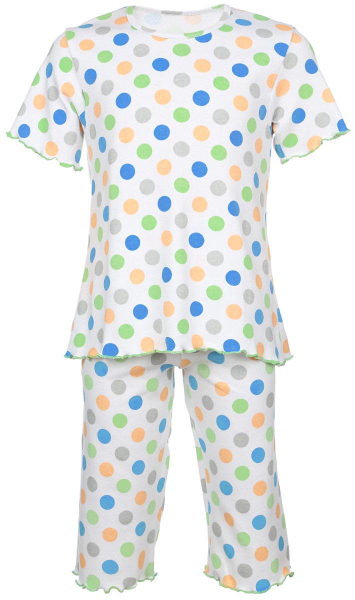 Пижама5581_ВЛ15_горохОчаровательная пижама для девочки Трон-плюс, состоящая из футболки и удлиненных шорт, идеально подойдет ребенку для отдыха и сна. Модель выполнена из натурального хлопка, мягкая и приятная к телу, не сковывает движения, хорошо пропускает воздух и не раздражает нежную и чувствительную кожу ребенка. Футболка с короткими рукавами имеет круглый вырез горловины, оформленный бейкой. Удлиненные шорты на талии дополнены мягкой эластичной резинкой, благодаря чему они не сдавливают животик ребенка и не сползают. Пижама оформлена принтом в горох по всей поверхности. Рукава, низ футболки и низ шорт имеют волнистые края, обработанные декоративным швом. В такой пижаме ваша маленькая принцесса будет чувствовать себя комфортно и уютно.