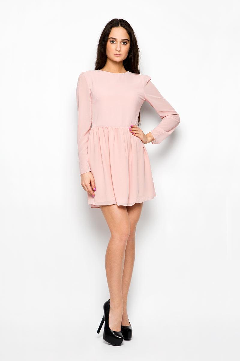 Платье Glamorous, цвет: бледно-розовый. CK2061. Размер L (48)CK2061_Light Dusty PinkЭлегантное и невероятно легкое платье Glamorous, выполненное из полупрозрачного материала, преподносит все достоинства женской фигуры в наиболее выгодном свете. Модель с круглым вырезом горловины и длинными рукавами на спинке застегивается на скрытую застежку-молнию и дополнительно на пуговицу. Втачные рукава чуть присборены в верхней части канта. Благодаря свойствам используемого материала изделие практически не сминается. Это стильное платье станет отличным дополнением к вашему гардеробу!