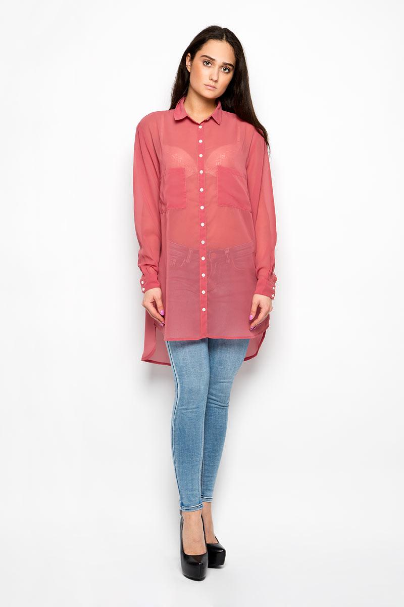 БлузкаKA4813_Dusty PinkЖенская блузка Glamorous, выполненная из полиэстера, прекрасно дополнит ваш образ. Материал изделия полупрозрачный, очень легкий, приятный на ощупь, не сковывает движения и хорошо вентилируется. Блузка с отложным воротником и длинными рукавами спереди застегивается на пуговицы по всей длине. Манжеты также имеют застежки-пуговицы. На груди изделие дополнено двумя накладными карманами. Спинка модели удлинена. Такая блузка будет дарить вам комфорт в течение всего дня и станет стильным дополнением к вашему гардеробу.