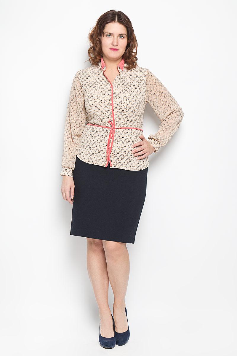 Блузка1494-624Стильная блузка Milana Style, выполненная из синтетического материала ПАН с добавлением эластана, подчеркнет ваш уникальный стиль и поможет создать оригинальный женственный образ. Материал очень легкий, мягкий и приятный на ощупь, не сковывает движения и хорошо вентилируется. Блузка с длинными рукавами и отложным воротником оформлена декоративной планкой с пуговицами по всей длине. Воротник отложной, фиксируется пуговицами. Рукава выполнены из полупрозрачной легкой ткани и собраны в эластичные манжеты. Закругленный низ блузки придает образу утонченности. По всей поверхности изделие оформлено мелким принтом с изображением енотов и дополнено текстильным поясом. Такая блузка будет дарить вам комфорт в течение всего дня и послужит замечательным дополнением к вашему гардеробу.