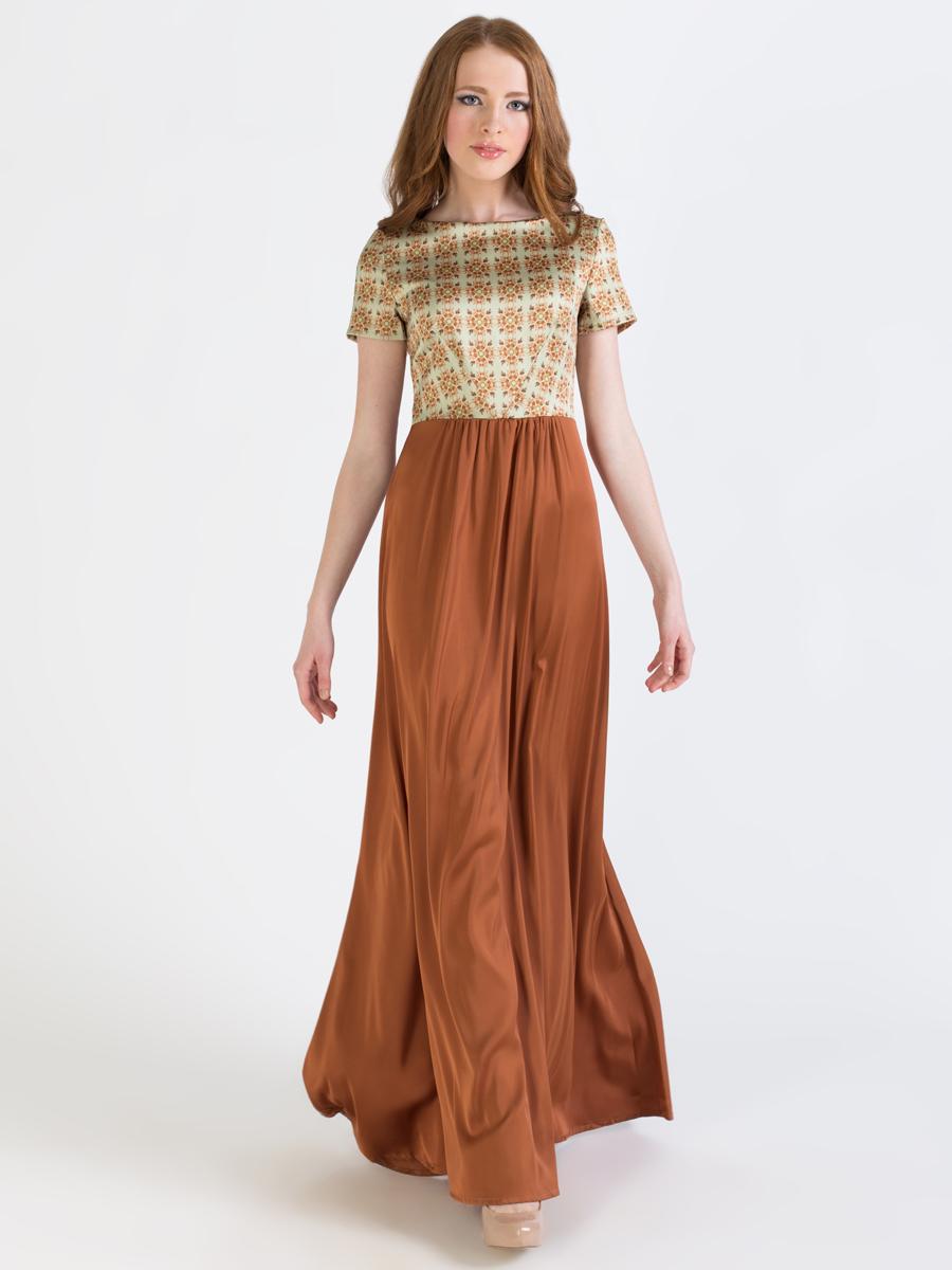 Платье Анна Чапман, цвет: коричневый, светло-зеленый. P41S-3S. Размер 44P41S-3SЭлегантное платье Анна Чапман подарит вам удобство и поможет вам подчеркнуть свой вкус и неповторимый стиль.Модель, выполненная из двух видов ткани, мягкая и приятная на ощупь, хорошо вентилируется. Плотный шелковистый верх идеально подчеркивает фигуру, а легкая отрезная расклешенная юбка изящно струится. Верх украшен орнаментом, а юбка - однотонная. Модель макси длины с круглым вырезом горловины и короткими рукавами на спинке имеет V-образный вырез и застёгивается на потайную застежку-молнию.В таком наряде вы, безусловно, привлечете восхищенные взгляды окружающих.