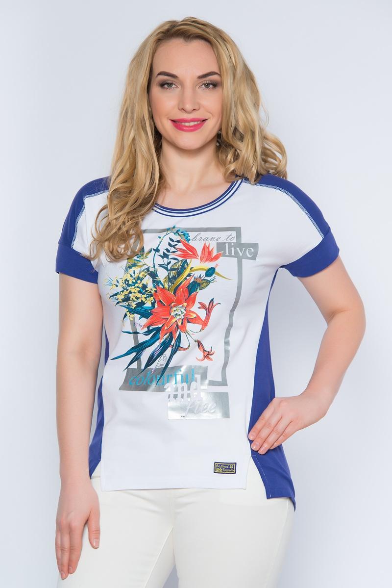 ФутболкаSS16-BGUZ-506Стильная женская футболка BeGood изготовлена из эластичного хлопка. Модель с круглым вырезом горловины и короткими рукавами на груди оформлена оригинальным цветочным принтом и надписями. По бокам модель дополнена двумя разрезами.