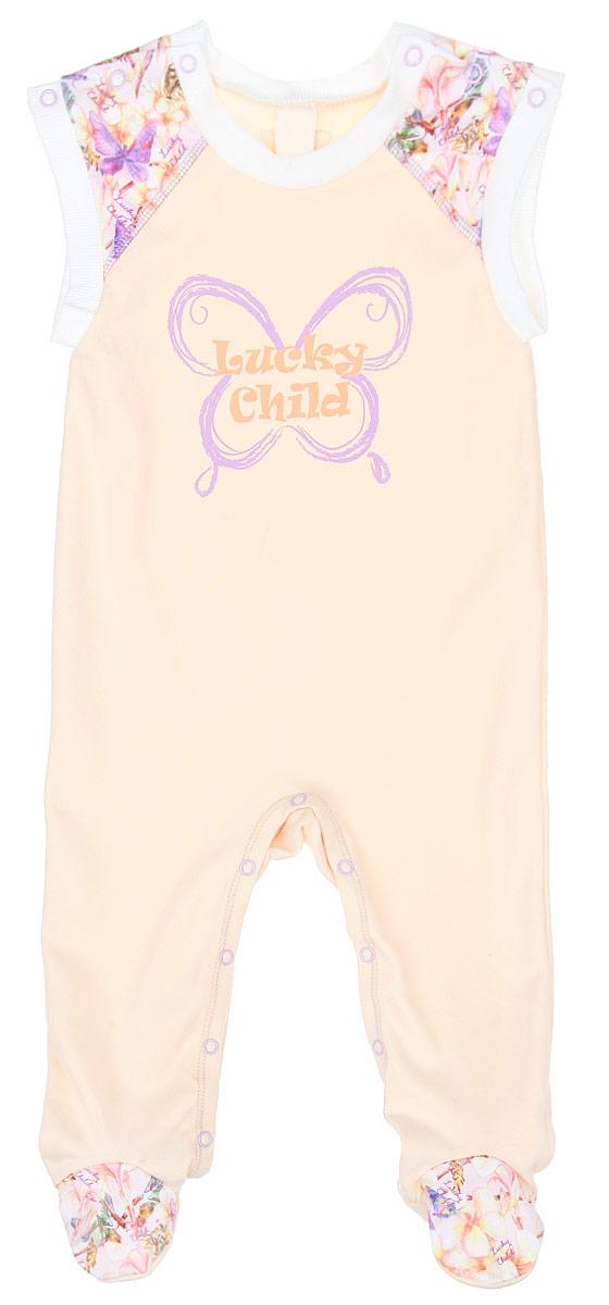 Ползунки26-2Ползунки с грудкой для девочки Lucky Child Тропический рай - очень удобный и практичный вид одежды для малышки. Ползунки выполнены из натурального хлопка, благодаря чему они необычайно мягкие и приятные на ощупь, не раздражают нежную кожу ребенка и хорошо вентилируются, а эластичные швы не препятствуют движениям крохи. Ползунки с закрытыми ножками имеют застежки-кнопки на плечах и ластовице, благодаря чему можно легко переодеть ребенка или сменить подгузник. Плечи и носочки оформлены оригинальным принтом. Украшено изделие термоаппликацией в виде бабочки с названием бренда. Ползунки с грудкой подходят для ношения с подгузником и без него, они полностью соответствуют особенностям жизни младенца в ранний период, не стесняя и не ограничивая его в движениях.