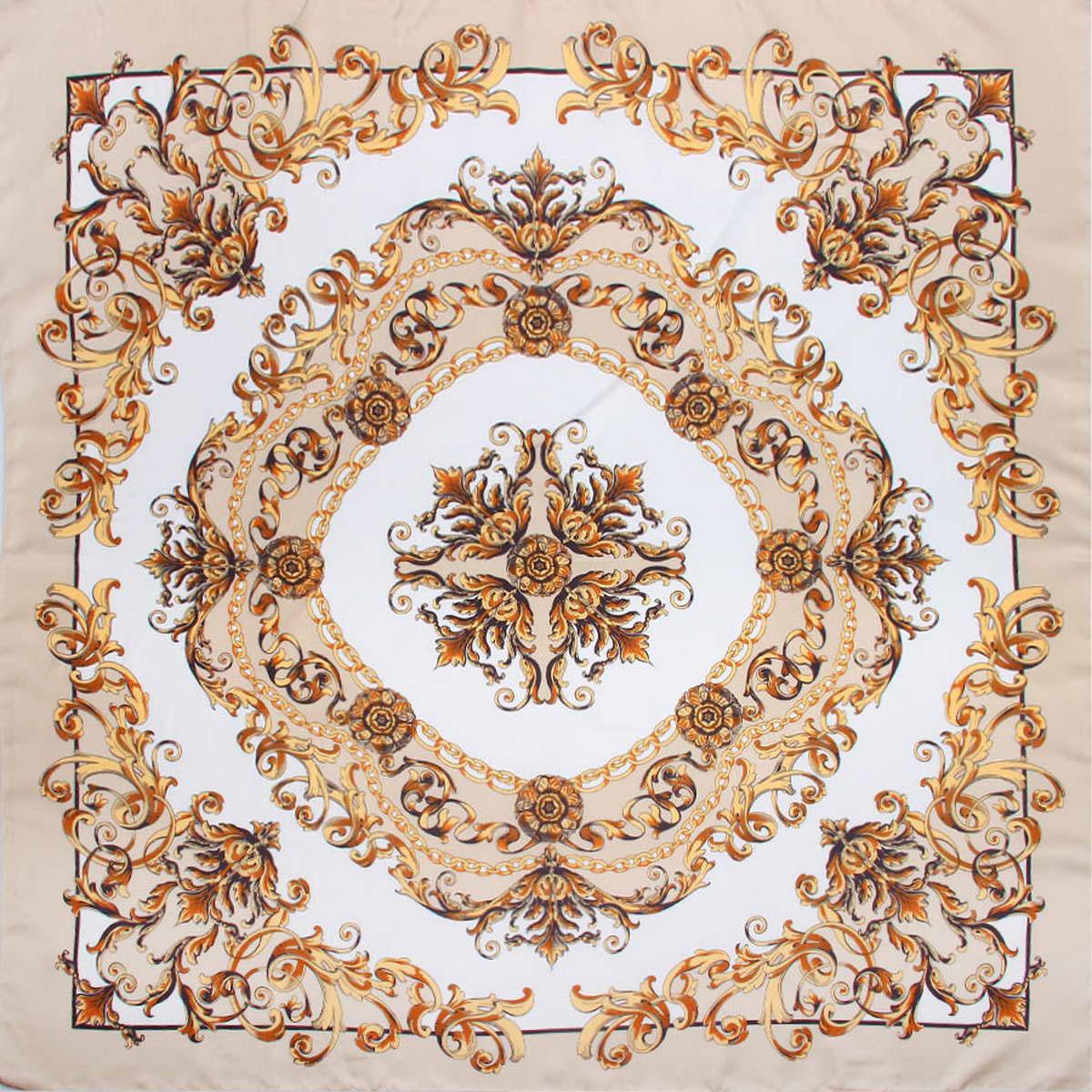 Платок женский Venera, цвет: бежевый, белый. 3904472-1. Размер 90 см х 90 см3904472-1Стильный женский платок Venera изготовлен из качественного и легкого полиэстера, будет самым универсальным вариантом для повседневного аксессуара.Великолепный насыщенный цвет и оригинальный принт, напоминающий узор аристократичного стиля, будут придавать любому вашему наряду изысканности, подчеркивать женственность и стильность.Классическая квадратная форма позволяет носить платок на шее, украшать им прическу или декорировать сумочку.Такой платок превосходно дополнит любой наряд и подчеркнет ваш неповторимый вкус и элегантность.
