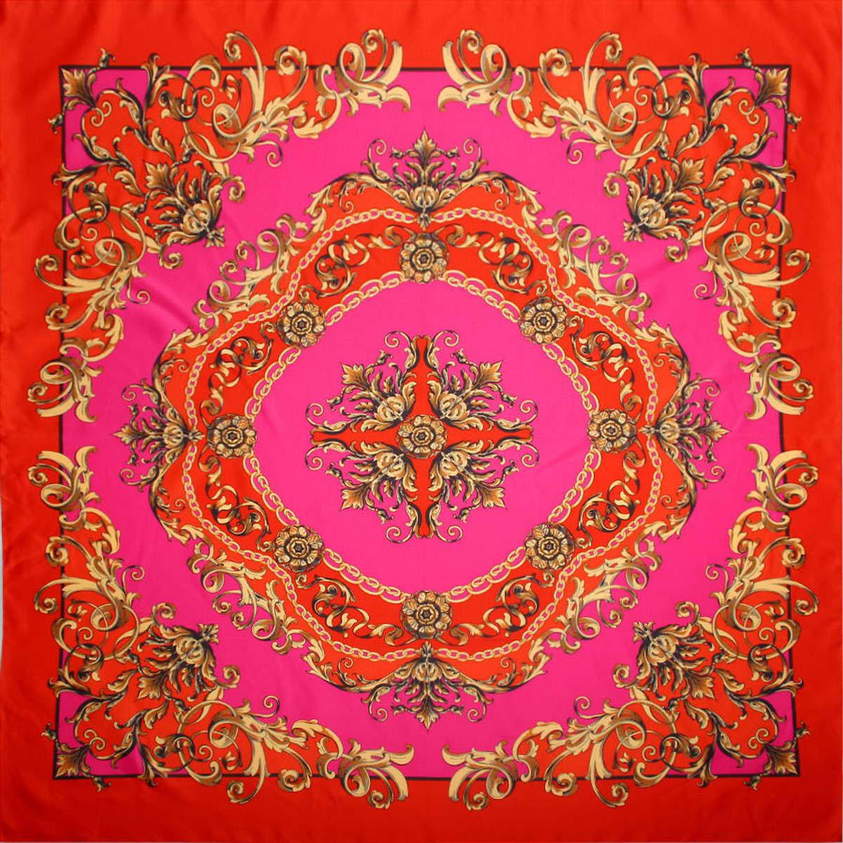 Платок женский Venera, цвет: красный, розовый. 3904472-2. Размер 90 см х 90 см3904472-2Стильный женский платок Venera изготовлен из качественного и легкого полиэстера, будет самым универсальным вариантом для повседневного аксессуара.Великолепный насыщенный цвет и оригинальный принт, напоминающий узор аристократичного стиля, будут придавать любому вашему наряду изысканности, подчеркивать женственность и стильность.Классическая квадратная форма позволяет носить платок на шее, украшать им прическу или декорировать сумочку.Такой платок превосходно дополнит любой наряд и подчеркнет ваш неповторимый вкус и элегантность.