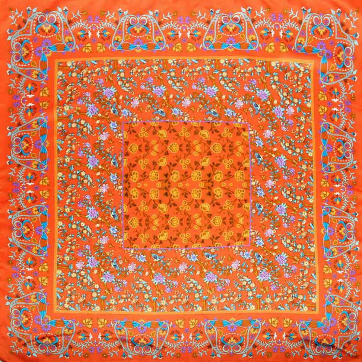 Платок женский Venera, цвет: оранжевый, сиреневый, коричневый. 3904972-28. Размер 90 см х 90 см3904972-28Стильный женский платок Venera станет великолепным завершением любого наряда. Платок, изготовленный из полиэстера, оформлен цветочный принтом. Классическая квадратная форма позволяет носить платок на шее, украшать им прическу или декорировать сумочку. Легкий и приятный на ощупь платок поможет вам создать изысканный женственный образ. Такой платок превосходно дополнит любой наряд и подчеркнет ваш неповторимый вкус и элегантность.
