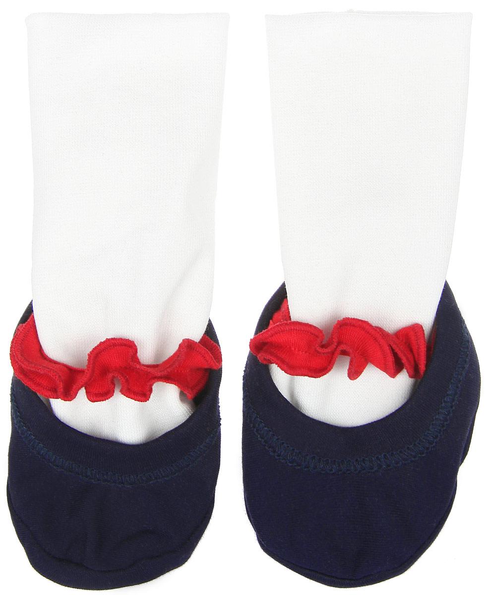 Пинетки18-291Стильные и модные пинетки для девочки Lucky Child Романтик, выполненные из натурального хлопка, великолепно дополнят наряд маленькой модницы. Мягкий, приятный на ощупь материал бережно удерживает ножку ребенка и обеспечивает необходимую циркуляцию воздуха и гигроскопичность. Модель дополнена трикотажной резинкой, имитирующей носок, которая фиксирует пинетки на ножке ребенка. Пинетки декорированы контрастной резинкой с оборкой. Милые, нежные и удобные пинетки станут любимой обувью маленькой принцессы. В них ваша малышка будет чувствовать себя комфортно и непринужденно.