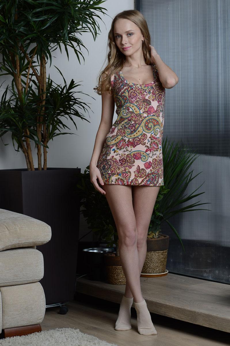 Платье домашнее99005Домашнее платье Alla Buone выполнено из эластичного хлопка. Платье-мини с круглым вырезом горловины оформлено оригинальным принтом.