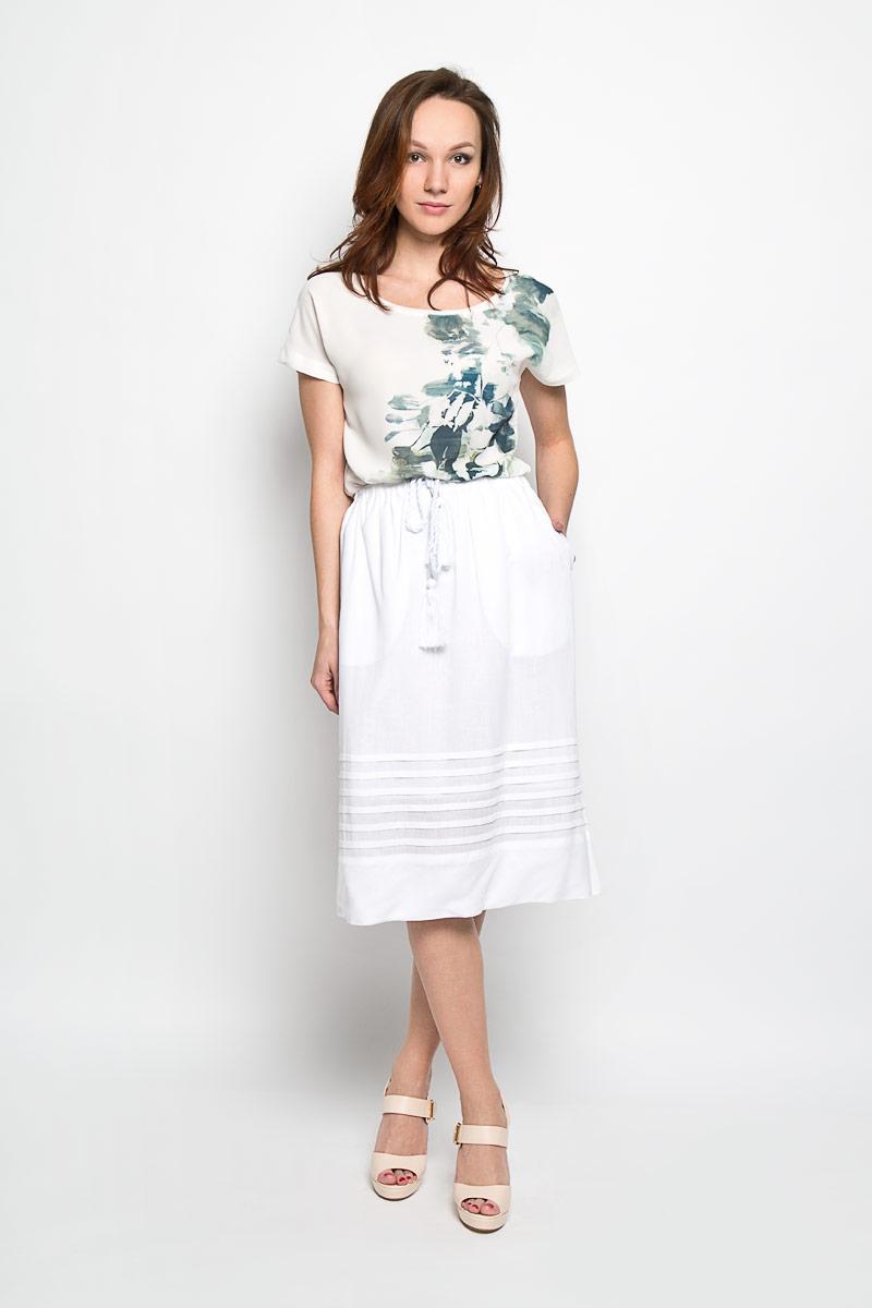 Юбка Baon, цвет: белый. B476032. Размер S (44)B476032_WHITEЭффектная юбка Baon, выполненная из вискозы и льна, обеспечит вам комфорт и удобство при носке. Юбка-миди имеет широкую эластичную резинку на поясе и дополнена завязками с кисточками. По бокам модели расположены втачные карманы. Модная юбка-миди выгодно освежит и разнообразит ваш гардероб. Создайте женственный образ и подчеркните свою яркую индивидуальность! Классический фасон и оригинальное оформление этой юбки сделают ваш образ непревзойденным.