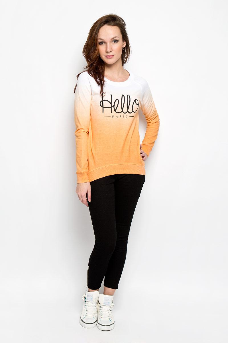 Джемпер женский Moodo, цвет: белый, оранжевый. L-BL-2012 ORANGE. Размер XL (50)L-BL-2012_ORANGEСтильный женский джемпер Moodo, выполненный из хлопка с добавлением полиэстера, будет отличным дополнением в вашем гардеробе. Модель прямого кроя с длинными рукавами-реглан и круглым вырезом горловины оформлена принтовой надписью Hello Paris. Вырез горловины, манжеты и низ кофты выполнены вязкой резинка. Спинка немного удлинена. Классический покрой, лаконичный дизайн, безукоризненное качество. Идеальный вариант для тех, кто ценит комфорт и качество.