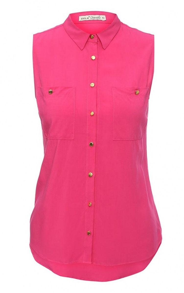 БлузкаBsl-112/1029-6236Стильная женская блузка Sela Casual, выполненная из 100% вискозы, подчеркнет ваш уникальный стиль и поможет создать оригинальный женственный образ. Модель приталенного кроя без рукавов с отложным воротником застегивается по всей длине на пуговицы. На груди блузка дополнена двумя накладными карманами на пуговицах. Низ изделия закруглен к боковым швам. Спинка модели немного удлинена. Легкая блуза идеально подойдет для жарких летних дней. Она будет дарить вам комфорт в течение всего дня и послужит замечательным дополнением к вашему гардеробу.