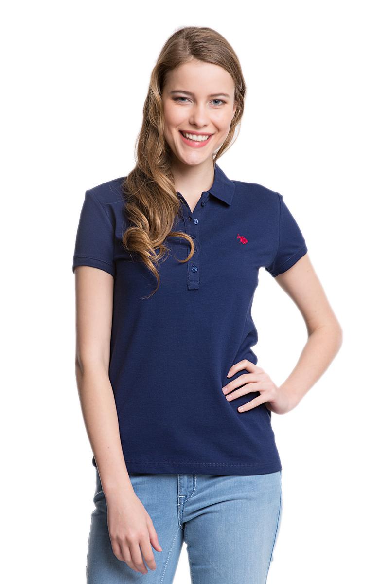 ПолоG082GL0110GTP01-IY06_BY0001Стильная женская футболка-поло U.S. Polo Assn., выполненная из высококачественного эластичного хлопка, обладает высокой теплопроводностью, воздухопроницаемостью и гигроскопичностью, позволяет коже дышать. Модель с короткими рукавами и отложным воротником - идеальный вариант для создания оригинального современного образа. Сверху футболка-поло застегивается на пластиковые пуговицы. Воротник и низ рукавов выполнены из трикотажной резинки. Модель оформлена на груди небольшой вышивкой.