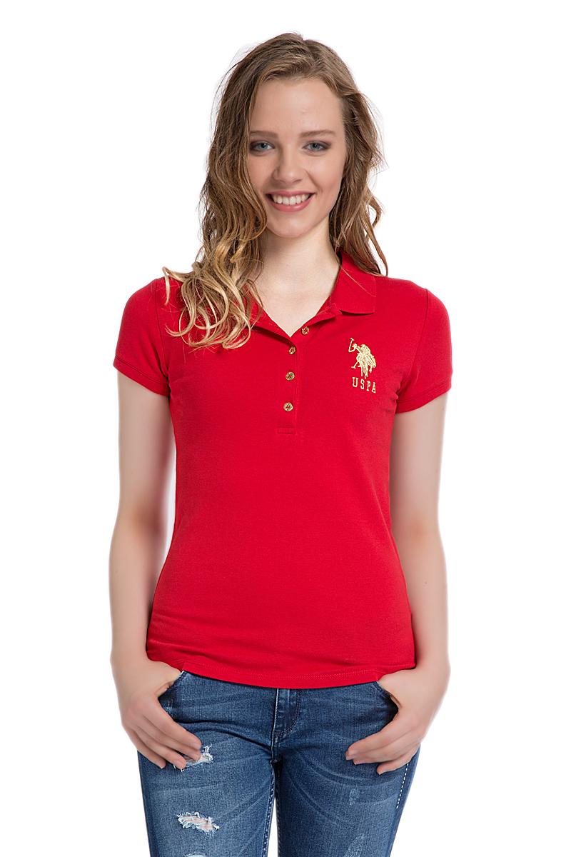Поло женское U.S. Polo Assn., цвет: красный. G082SZ0110MTS022IY06-011_KR0148. Размер M (44)G082SZ0110MTS022IY06-011_KR0148Стильная женская футболка-поло U.S. Polo Assn., выполненная из высококачественного эластичного хлопка, обладает высокой теплопроводностью, воздухопроницаемостью и гигроскопичностью, позволяет коже дышать.Модель с короткими рукавами и отложным воротником - идеальный вариант для создания оригинального современного образа. Сверху футболка-поло застегивается на пуговицы. Воротник и низ рукавов выполнены из трикотажной резинки. Модель оформлена на груди небольшой вышивкой в виде логотипа бренда.