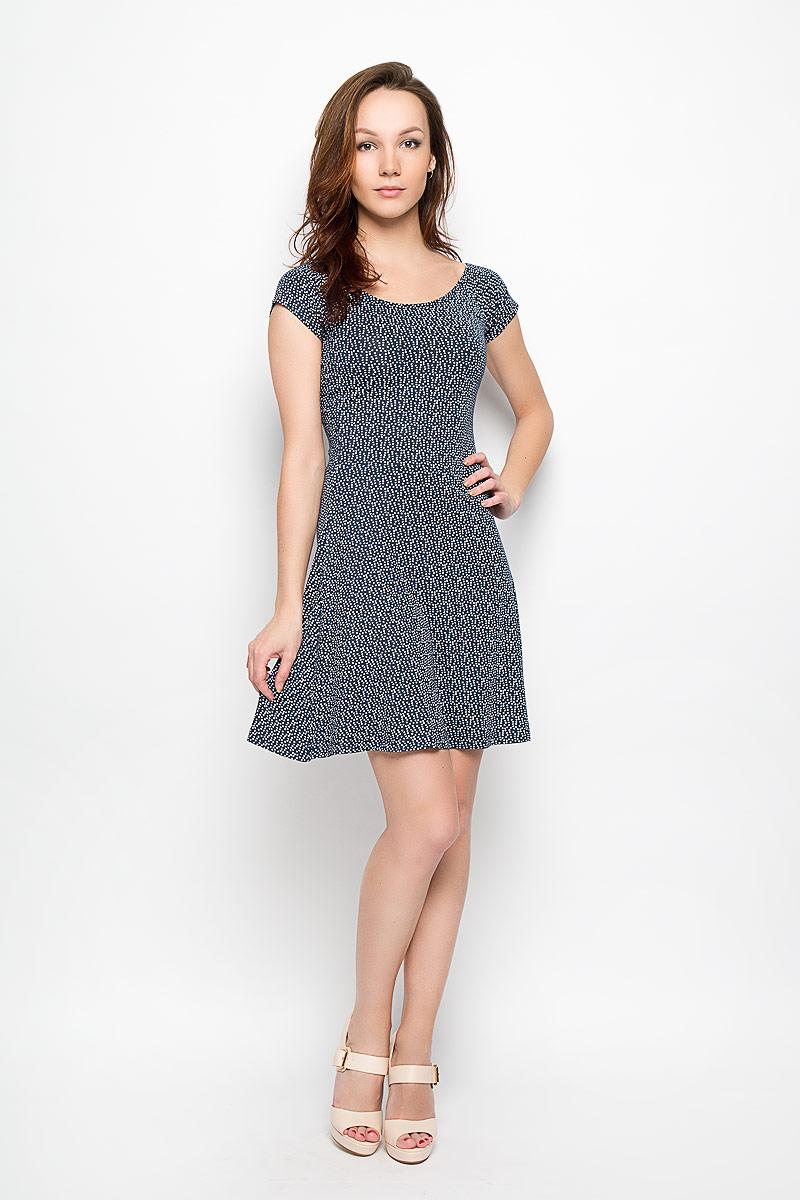 Платье Moodo, цвет: темно-синий, белый. L-SU-2008 NAVY. Размер XS (42)L-SU-2008_NAVYМодное платье Moodo станет отличным дополнением к вашему гардеробу. Модель, изготовленная из вискозы с добавлением эластана, очень мягкая, тактильно приятная, не сковывает движения и позволяет коже дышать.Платье приталенного кроя с круглым вырезом горловины и короткими рукавами-кимоно оформлено оригинальным принтом. Вырез горловины дополнен эластичной резинкой. Платье имеет пришивную расклешенную юбку средней длины.Такое платье станет стильным дополнением к вашему гардеробу, оно подарит вам комфорт в течение всего дня!