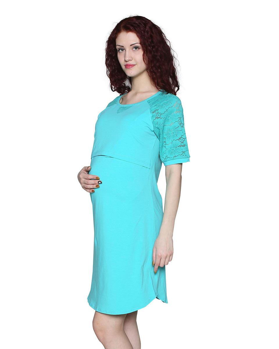 Платье домашнееП75505АДомашнее платье для беременных выполнено из натурального однотонного полотна с кружевной отделкой. Фэст — одежда по вашей фигуре.