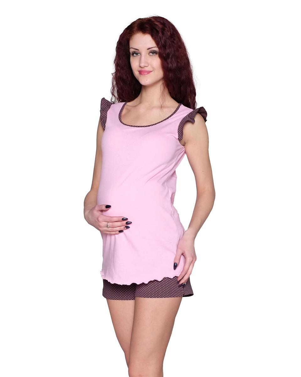 Домашний комплектП80504КСимпатичный и удобный комплект для беременных, состоящий из майки и шортиков, выполнен из хлопка. Майка имеет интересный рукав-крылышко. Шорты выполнены с эластичным поясом под живот. Фэст - одежда по вашей фигуре.
