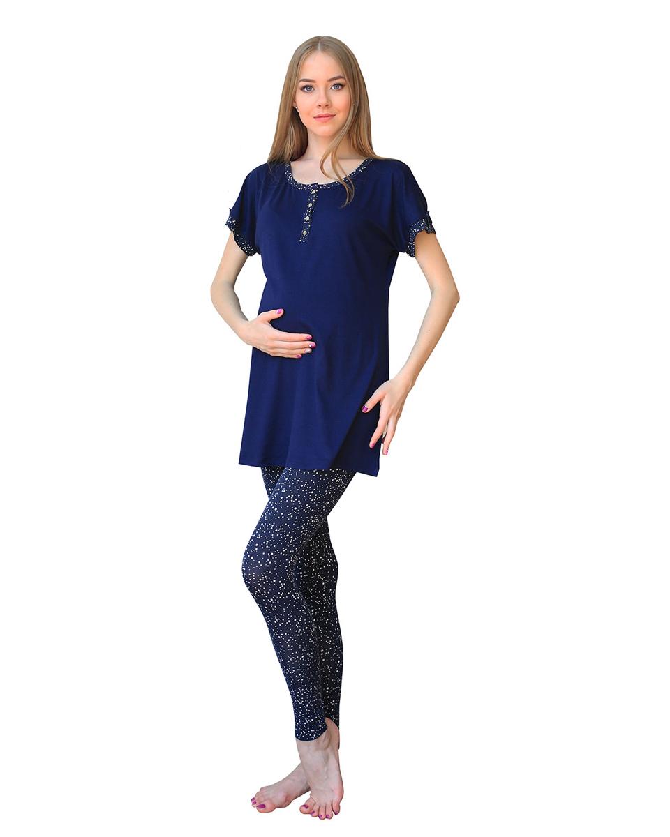 Домашний комплектП60509Комплект для беременных и кормящих женщин состоит из леггинсов с бандажной резинкой под живот и туники с пуговицами для удобства кормления. Фэст - одежда по вашей фигуре.