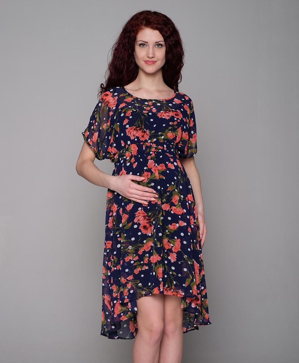 Платье3-174518НЯркое шифоновое платье для будущих мамочек, с чехлом из натурального трикотажного полотна. Благодаря резинке в поясе платье можно носить и в послеродовой период. Фэст — одежда по вашей фигуре.