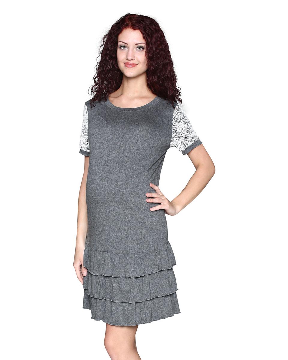 Платье домашнееП83509АПлатье женское для беременных выполнено из мягкого вискозного полотна с добавлением эластана. Платье прямого силуэта с кружевной кокеткой. Рукав короткий, украшен кружевом. Изюминка модели - воланы по низу изделия. Фэст - одежда по вашей фигуре.