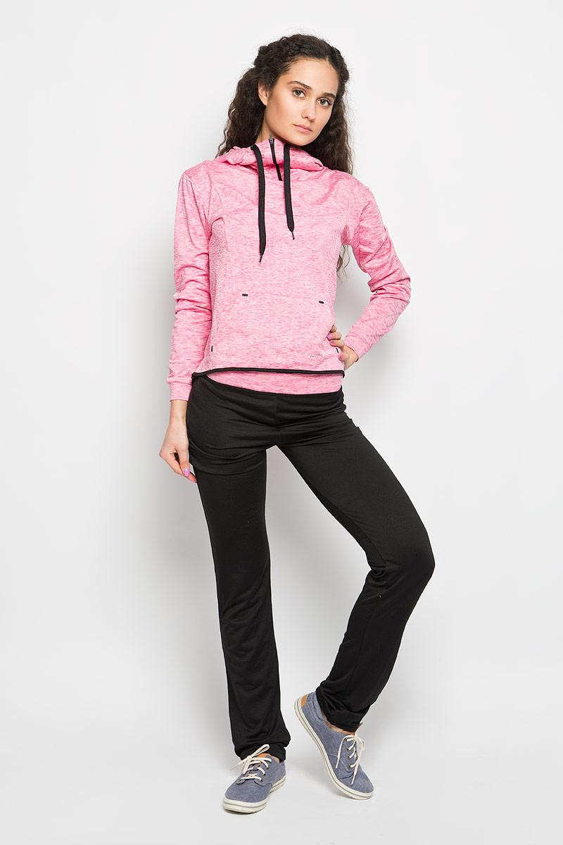 Брюки спортивные женские Moodo, цвет: черный, розовый меланж. L-DR-2002 BLACK. Размер XS (42)L-DR-2002_BLACKЖенские спортивные брюки Moodo, выполненные из полиэстера с добавлением эластана, идеально подойдут для активного отдыха и занятий спортом. Материал необычайно мягкий и приятный на ощупь, не сковывает движения и позволяет коже дышать. С изнаночной стороны - мягкий ворсистый материал, приятный на ощупь.Модель прямого кроя со стандартной посадкой. Благодаря эластичному поясу модель идеально садится по фигуре. На брючинах предусмотрены шнурки, которые при необходимости можно завязать. Такая модель выгодно подчеркнет фигуру и станет отличным дополнением к вашему гардеробу!