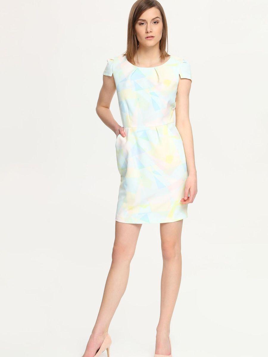 Платье Troll, цвет: светло-желтый, голубой, белый. TSU0502BI. Размер S (44)TSU0502BIПлатье Troll поможет создать яркий и стильный образ. Платье, изготовленное из полиэстера с добавлением эластана, очень мягкое, тактильно приятное, хорошо вентилируется.Модель с круглым вырезом горловины и короткими рукавами-крылышками застегивается сзади на металлическую молнию. Спереди расположены два втачных кармана. Изделие оформлено принтом в светлых тонах. Такое платье займет достойное место в вашем гардеробе, а также подарит вам комфорт в течение всего дня.