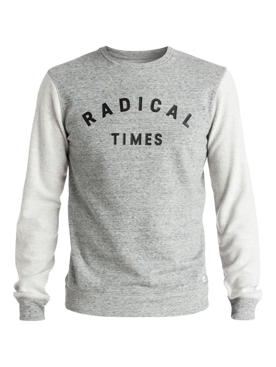 СвитшотEQYFT03285-KPWHСтильный мужской свитшот Quiksilver выполнен из хлопка с полиэстером. Модель с круглым вырезом горловины и длинными рукавами оформлена спереди надписью Radical Times.
