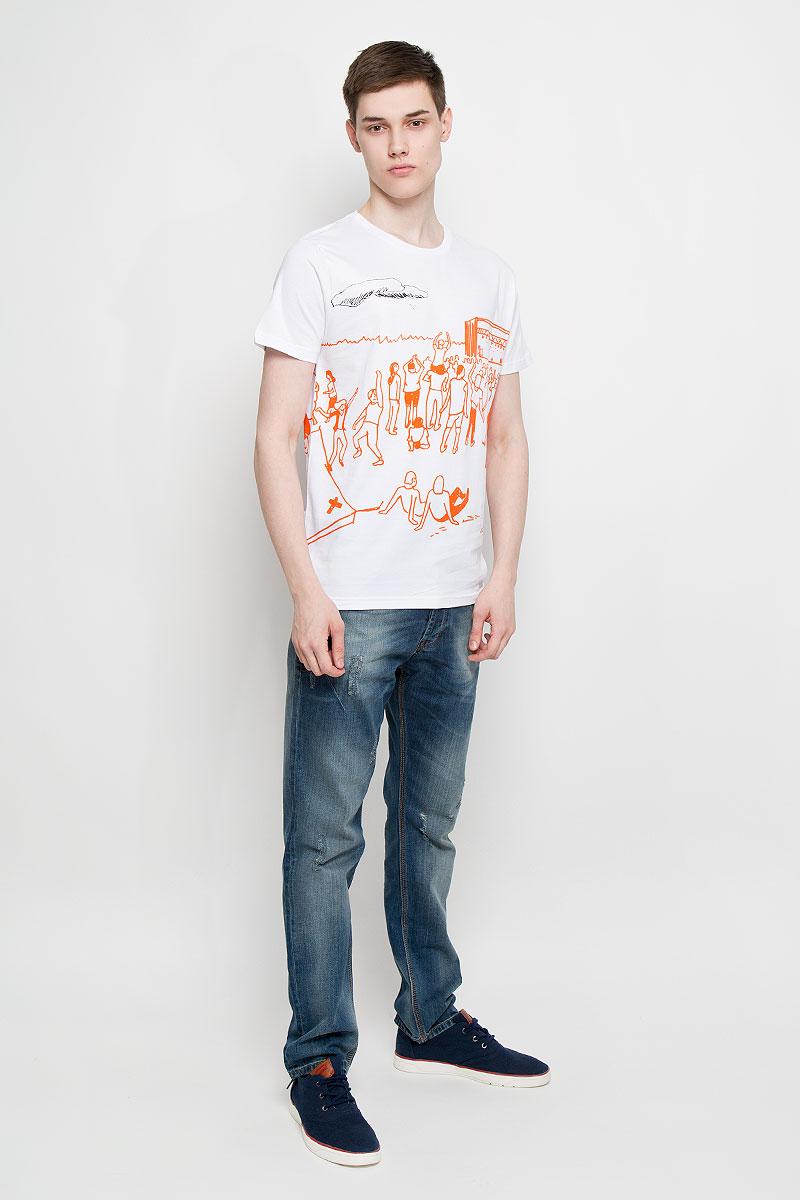 Футболка14577Мужская футболка Dedicated Fastival поможет создать отличный современный образ в стиле Casual. Модель, изготовленная на натурального хлопка, очень мягкая, тактильно приятная, не сковывает движения и позволяет коже дышать. Футболка с круглым вырезом горловины и короткими рукавами оформлена оригинальным принтом. Вырез горловины дополнен трикотажной резинкой. Такая футболка станет стильным дополнением к вашему гардеробу, она подарит вам комфорт в течение всего дня!
