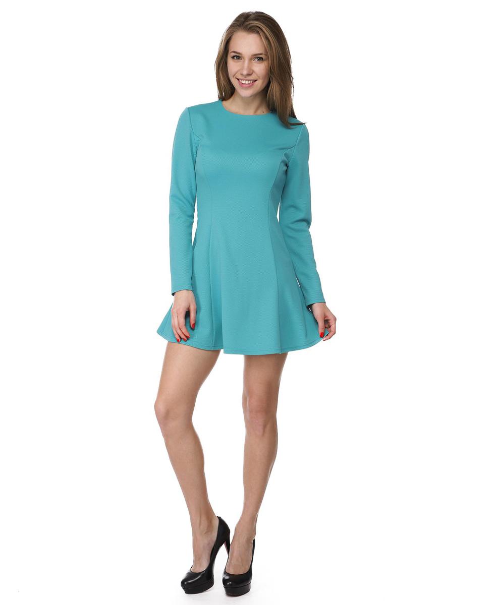 Платье Rocawear, цвет: бирюзовый. RC041410. Размер S (44)RC041410Платье А-силуэта Rocawear выполнено из качественного комбинированного материала.Платье с круглым вырезом горловины и длинными рукавами в среднем шве на спинке дополнено потайной застежкой-молнией.