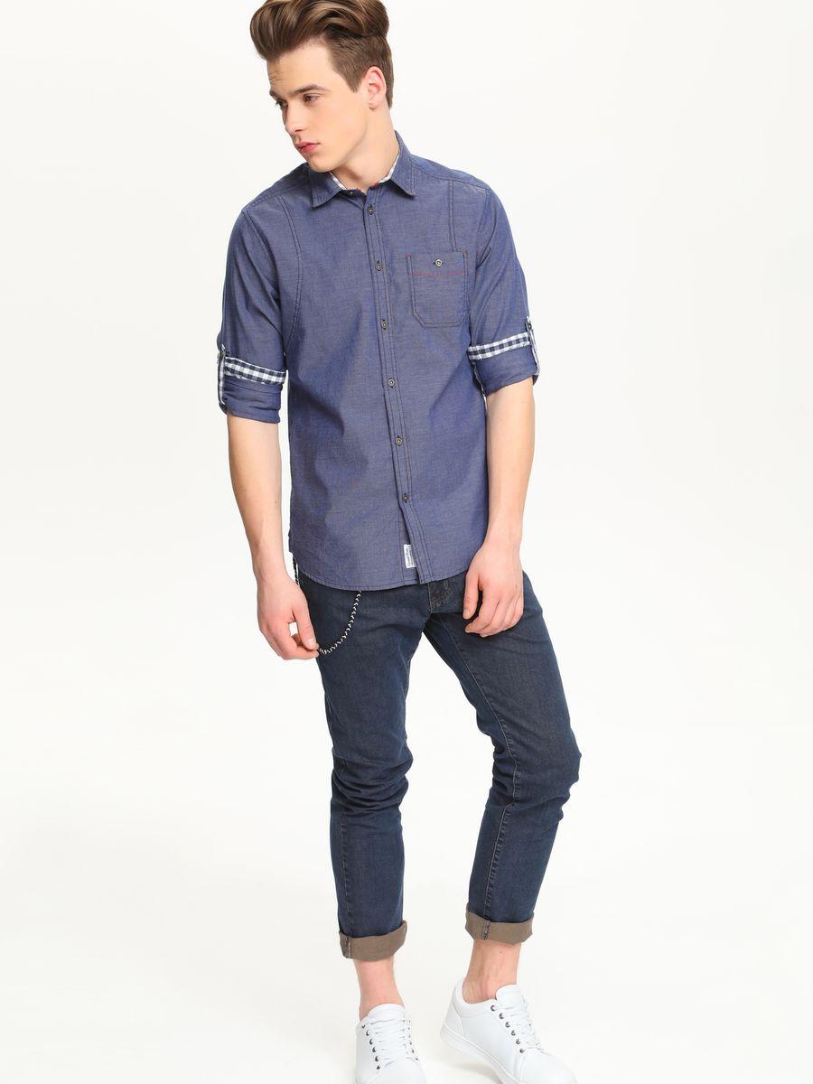 Рубашка мужская Top Secret, цвет: темно-синий. SKL1977GR. Размер 42/43 (50)SKL1977GRСтильная мужская рубашка Top Secret, выполненная из натурального хлопка, обладает высокой теплопроводностью, воздухопроницаемостью и гигроскопичностью, позволяет коже дышать, тем самым обеспечивая наибольший комфорт при носке.Модель приталенного кроя с отложным воротником застегивается на пуговицы. На груди имеется накладной карман на пуговице. Длинные рукава рубашки дополнены манжетами на пуговицах. При желании рукава модели можно подвернуть, зафиксировав отвороты с помощью хлястика на пуговице. Такая рубашка подчеркнет ваш вкус и поможет создать великолепный стильный образ.