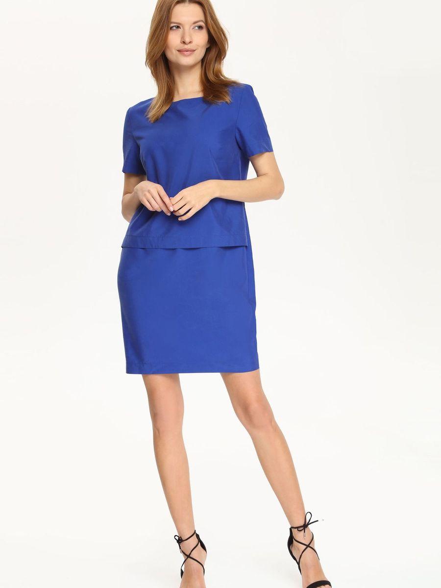 Платье Top Secret, цвет: синий. SSU1510NI. Размер 42 (48)SSU1510NIПлатье Top Secret поможет создать яркий и стильный образ. Платье, изготовленное из полиэстера, модала и лиоцелла, очень мягкое, тактильно приятное, хорошо вентилируется. Модель с круглым вырезом горловины и короткими рукавами застегивается сзади на скрытую молнию. Сзади предусмотрен небольшой разрез. Отделка верхней части изделия придает платью эффект 2 в 1. Такое платье займет достойное место в вашем гардеробе, а также подарит вам комфорт в течение всего дня.