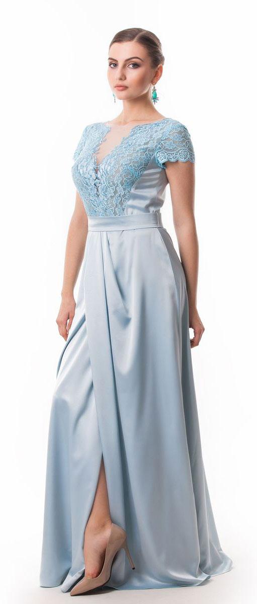 Платье4660_102Стильное платье Seam выполнено из полиэстера с добавлением спандекса. Платье-макси с круглым вырезом горловины и короткими кружевными рукавами. Лиф модели оформлен вставками из сетчатого и кружевного материала и декорирован вышитыми цветами. Двойная юбка модели имеет небольшой запах. По талии платье присобрано на резинку и дополнена мягкими складками. К изделию прилагается текстильный пояс застегивающийся на пуговицу.