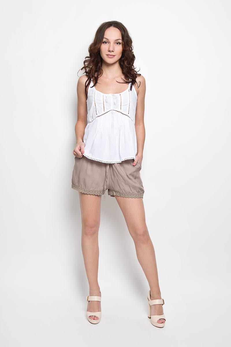 Шорты женские Broadway Frangsca, цвет: серо-бежевый. 10156334 756. Размер L (48)10156334 756Короткие женские шорты Broadway Frangsca станут прекрасным дополнением к летнему гардеробу. Они изготовлены из вискозы, мягкие и приятные на ощупь, не сковывают движения, обеспечивая наибольший комфорт. Модель на талии имеет широкую эластичную резинку с затягивающимся шнурком. Спереди шорты дополнены двумя втачными карманами со скошенными краями. Низ брючин оформлен вязаными вставками.Эти шорты - идеальный вариант для жарких летних дней.