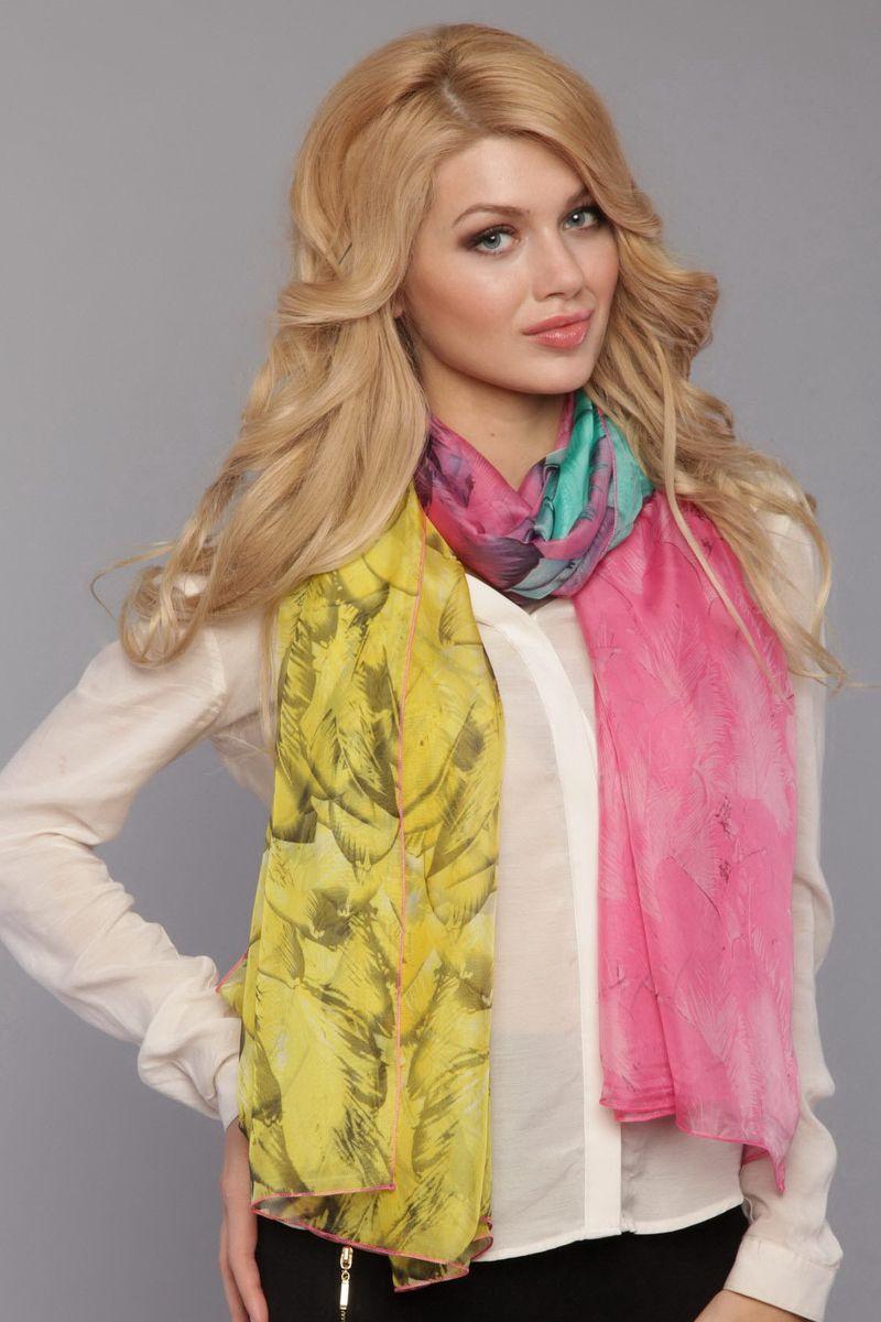 Палантин Fiona Fantozzi, цвет: розовый, желтый, бирюзовый. HL-0005-2. Размер 100 см х 180 смHL-0005-2Стильный женский палантин Fiona Fantozzi станет великолепным завершением любого наряда.Яркий палантин изготовлен из натурального шелка и оформлен оригинальным притом.Легкий и изящный палантин поможет вам создать изысканный женственный образ, а также согреет в непогоду.
