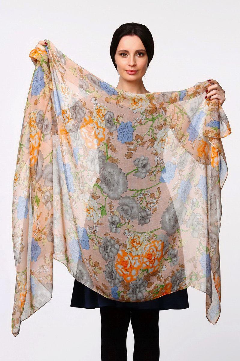 Палантин Sophie Ramage, цвет: бежево-розовый, голубой, оранжевый. YY-11566-16. Размер 90 см х 180 смYY-11566-16Стильный женский палантин Sophie Ramage станет великолепным завершением любого наряда.Палантин изготовлен из модала с добавлением шелка и оформлен цветочным принтом.Изящный палантин поможет вам создать изысканный женственный образ, а также согреет в непогоду.